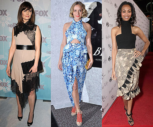 Pictures of Zoe Saldana, Chloe Sevigny, Emily Deschanel Wearing Printed, Cutout Dresses