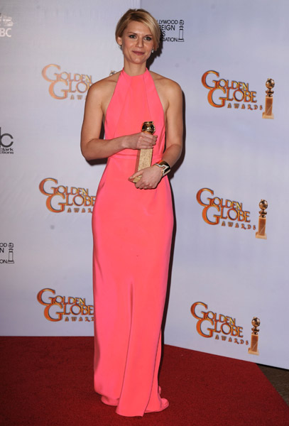 What a refreshing choice Claire Danes made in her pink Calvin Klein number.