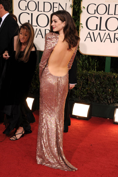 The front of Anne Hathaway's Armani Prive was gorgeous, but the back was amazing!