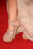 Leighton Meester sported some amazing suede and bejeweled Jimmy Choo platforms — gorgeous.