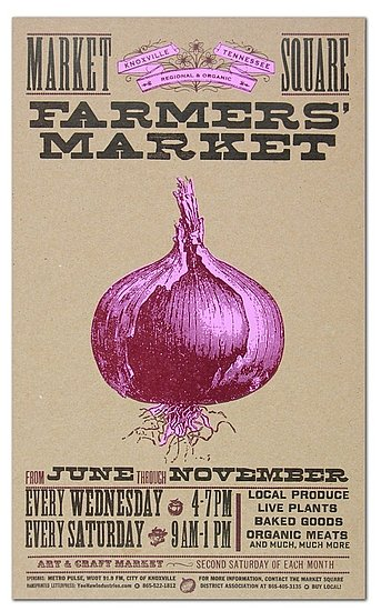 Yee-Haw Industries' Farmers Market Onion Letterpress Poster ($30) brings a little pop to the country.