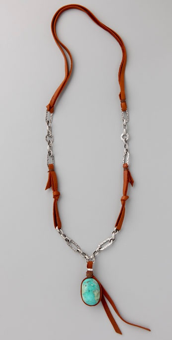 Cynthia Dugan Jewelry Turquoise, Leather & Chain Necklace ($96, originally $137)