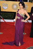 Kim Kardashian made a plum choice in Marchesa.