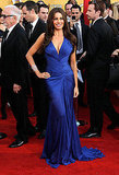 Sofia Vergara brought sexy in a blue Roberto Cavalli dress.