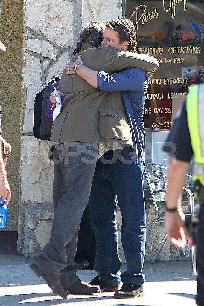 Matt Damon Shares a Serious Man Hug on Set