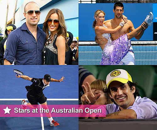 Shirtless Novak Djokovic, Kym Johnson, Rebecca Twigley, Andy Lee, Shane Warne at 2011 Australian Open