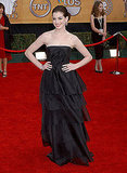 Anne Hathaway glowed in a ruffle-tiered, black strapless in '07.