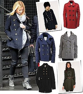 Gwyneth Paltrow in a Navy Blue Burberry Military Coat