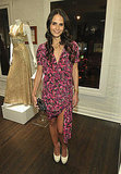 Jordana Brewster went flirty and fun in a pink-printed asymmetrical-hemmed mini and white pumps.