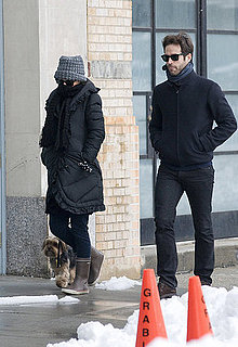 Pictures of Pregnant Natalie Portman and Fiance Benjamin Millepied Walking Their Dog In New York Snow