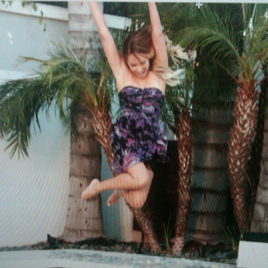 She jumped for joy during a photo shoot. Source: Twitter user laurenconrad