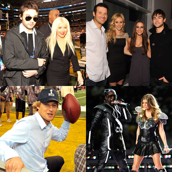 Pictures of Jennifer Aniston, Fergie, Christinia Aguilera, at the Super Bowl