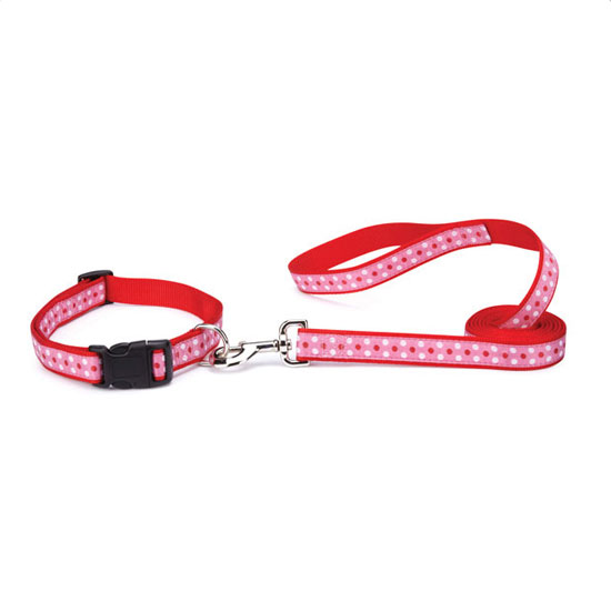 Pink and Red Polka Dot Dog Lead and Dog Collar