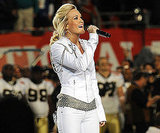 Carrie Underwood showed off her singing skills with the national anthem in Miami in 2010.
