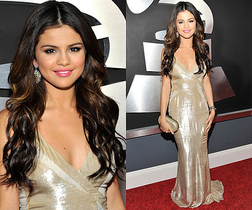 Selena Gomez in J. Mendel at the Grammys 2011