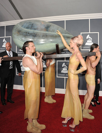 Pictures of Lady Gaga Egg Womb at 2011 Grammys