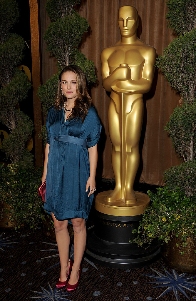 "Natalie Portman Talks Dressing Her Baby Bump and Being ""Drawn to the World of Dance"" at the Oscars Nominee Luncheon"
