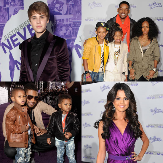Pictures of Justin Bieber, Selena Gomez, Miley Cyrus, and Usher at the NYC Never Say Never Premiere