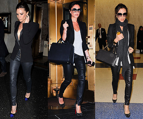 Victoria Beckham Wears Leather Pants and Blazer While in New York
