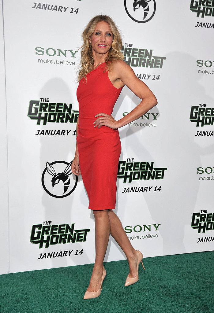 Tame a bright red dress, like Cameron Diaz's red, one-shouldered one, via nude pumps.