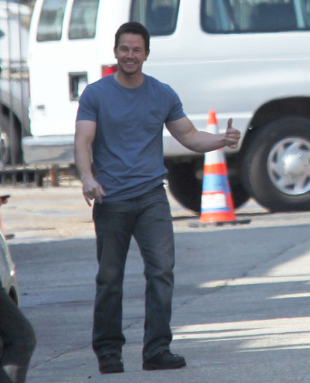 Mark Wahlberg Is Ready For Some Football on the Set