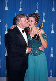 Emma Thompson's Howards End costar Anthony Hopkins posed with her and her trophy for best actress.
