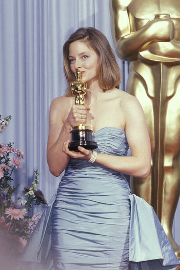 Jodie Foster snuggled up to her little gold man in 1989 after winning best actress for The Accused.