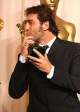 Javier Bardem puckered up after winning best supporting actor for No Country For Old Men in 2008. . .
