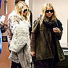 Pictures of Mary-Kate and Ashley Olsen With Dog at LAX