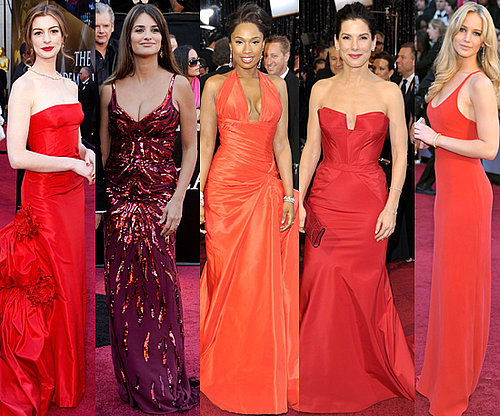 2011 Oscars: Red Gowns a Red Carpet Trend starring Jennifer Lawrence, Sandra Bullock and Anne Hathaway