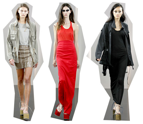 Left to right: Acne Domino Satin Twill Jacket ($660), Acne Red High-Waist Zip Skirt ($420), Acne Racerback Dress ($150)