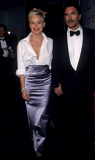 Sharon Stone in her husband's Gap shirt and a Vera Wang skirt, 1998