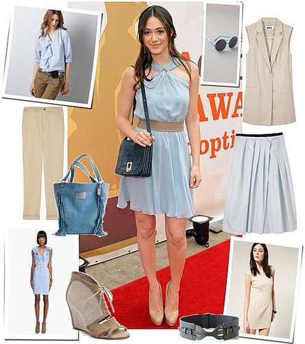 Emmy Rossum Wears a Baby-Blue Dress