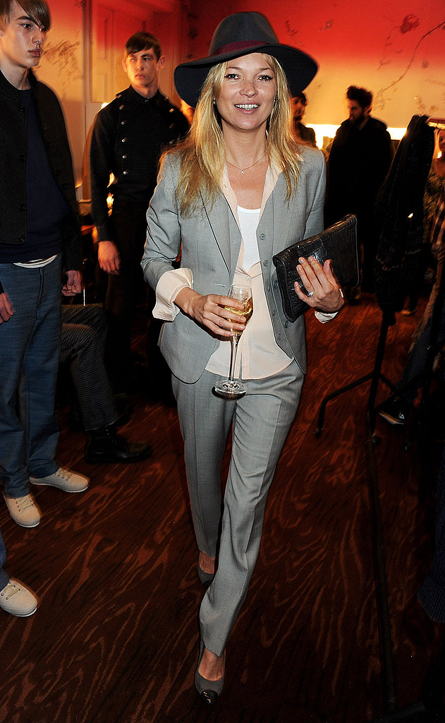Kate Moss Celebrates Menswear During London Fashion Week With Jamie Hince