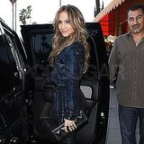 Pictures of Jennifer Lopez Leaving Lunch in LA Wearing a Short Sequin Dress