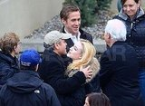 George Clooney Hugs It Out on Set With His Dad, Ryan Gosling, and Evan Rachel Wood