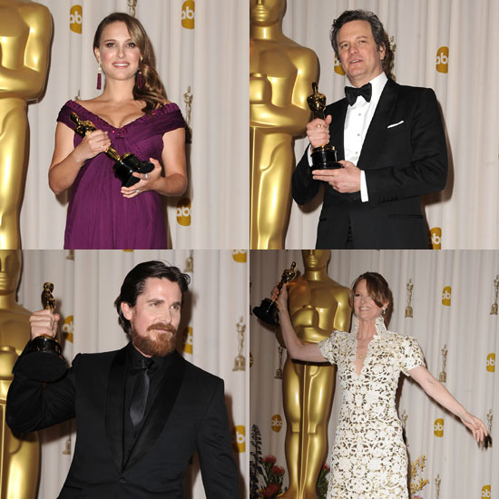Pictures of Oscar Winners Natalie Portman, Colin Firth, Christian Bale, and Melissa Leo in the 2011 Academy Awards Press Room