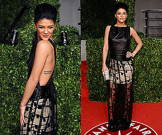 Jessica Szohr in Chris Benz Sheer skirted dress at Vanity Fair Oscar Party 2011
