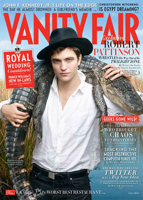 Robert Pattinson Wrangles a Gator and Talks Charlie Sheen, Kristen Stewart For Hot VF Cover