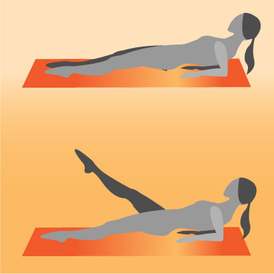 Reverse Elbow Plank With Leg Lifts