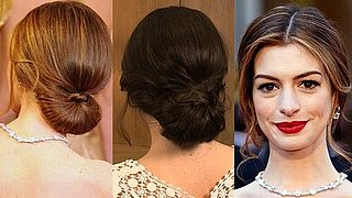 How to Get Anne Hathaway's Oscars Red-Carpet Low Bun Hairstyle