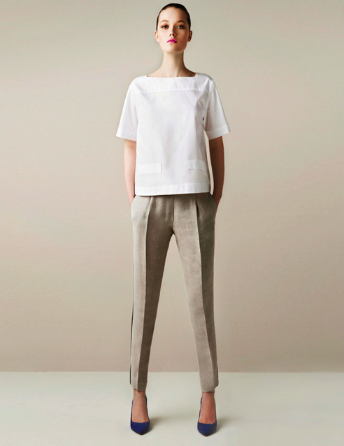 Poplin Pocket Blouse ($40), Contrast Trim Trouser ($60), Pointed Court Shoes ($90)