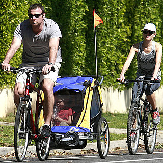 Pictures of Naomi Watts, Liev Schreiber, and Child on a Bike Ride in Brentwood