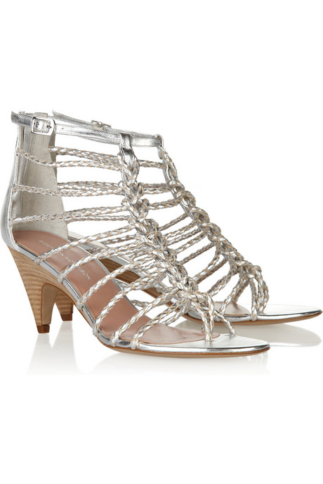 Sigerson Morrison Braided Leather Heels ($255, originally $425) Why: It's a low heel, which makes it functional, and the silver metallic is so sexy, and versatile enough to go with everything.