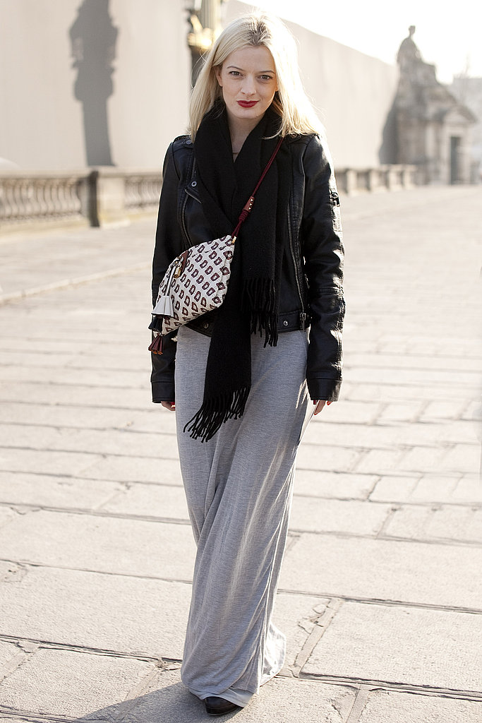 Super-chic maxi style, topped off with a biker jacket and a red pout.