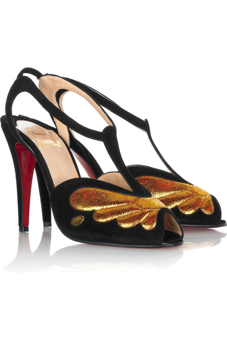 Christian Louboutin Gold Wing Embellished Suede Heels ($448, originally $895) Why: Because something this special won't ever go out of style, and the low T-strap is super flattering to ankles.