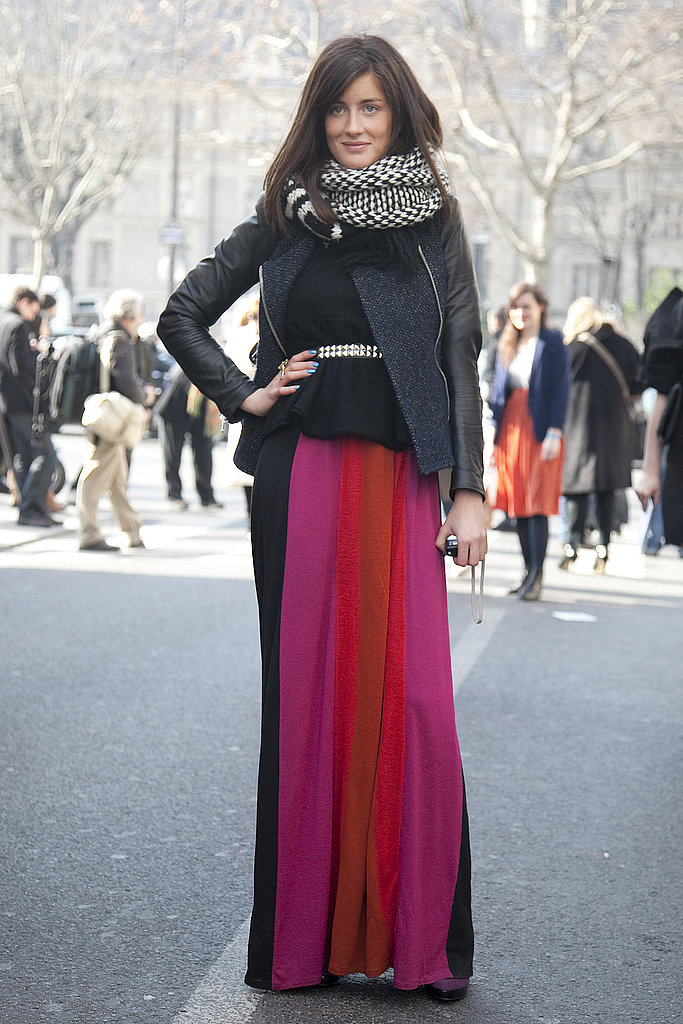 This is a look we'll be replicating before warm weather hits: a Fab mix of Spring brights, maxi lengths, slick leather, and a cozy scarf.