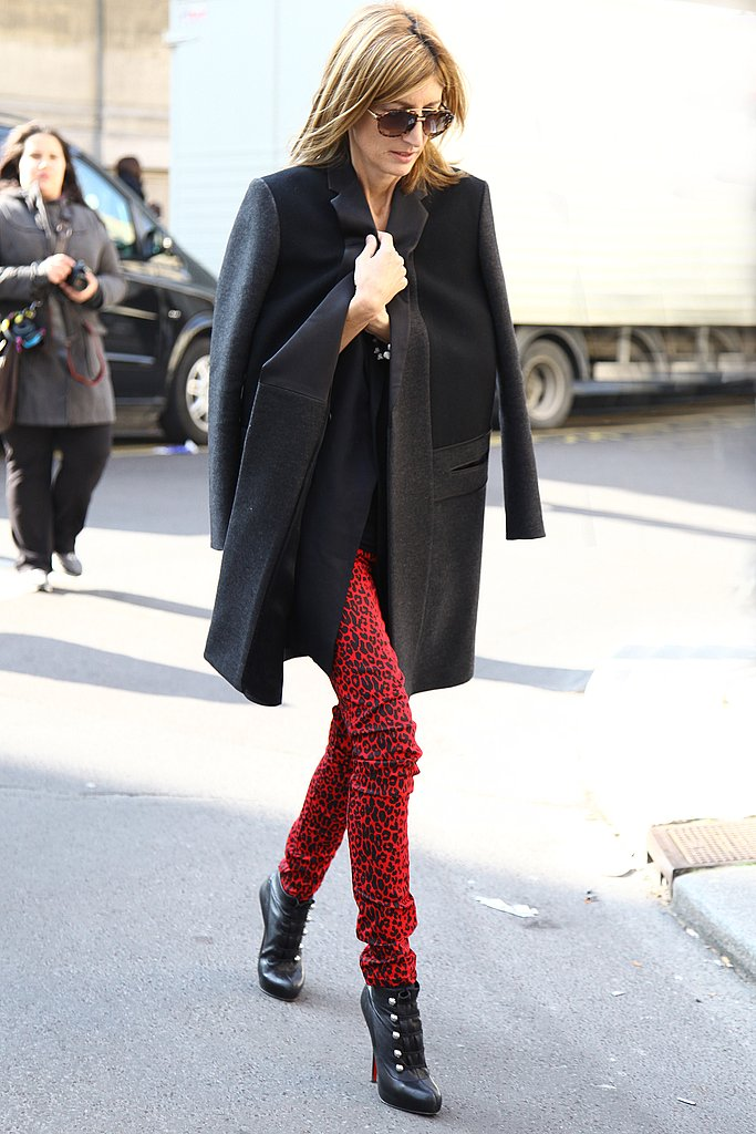 There's so much we love about this look, but we may love the leopard print on a pair of hot-red pants most of all.
