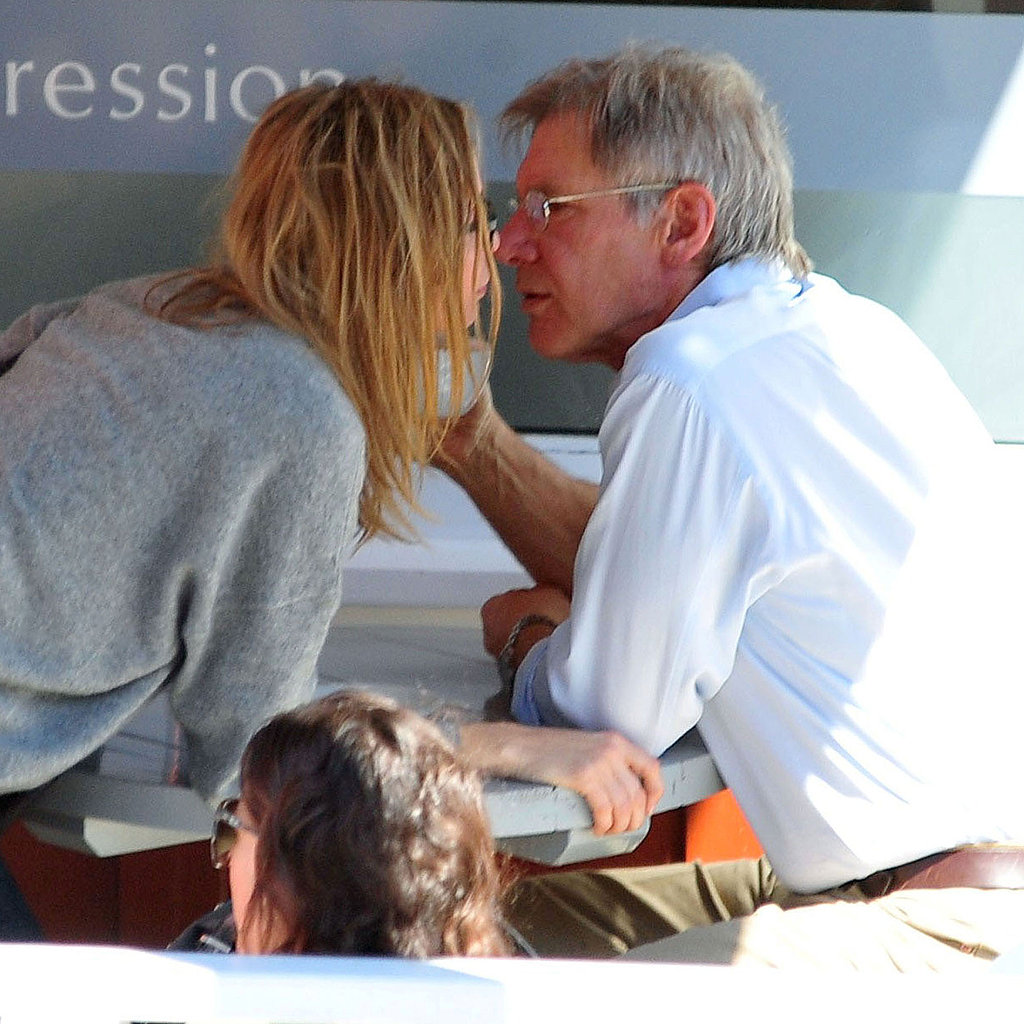 Pictures of Calista Flockhart and Harrison Ford Sharing a Kiss During a Coffee Date in Brentwood