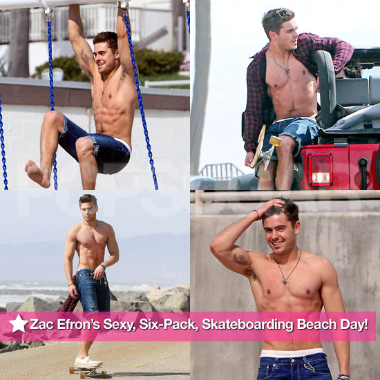 Pics: Shirtless Zac Efron's Sexy, Six-Pack, Skateboarding Beach Day!
